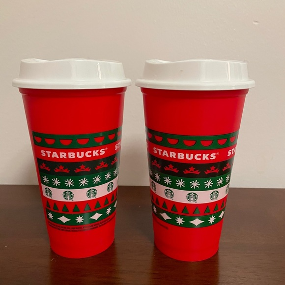 2 Starbucks limited edition holiday reusable cups
